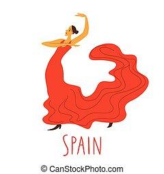 dançar, dançarino, vetorial, vermelho, espanhol, vestido, flamenco.