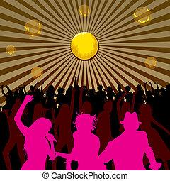 dançar, e, cantando, pessoas, silhuetas