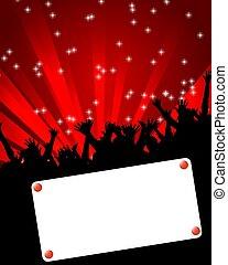 dançar, evento, painél publicitário