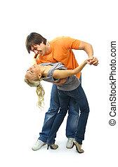 dançar, felizmente, par, jovem, pretas, ornamentar
