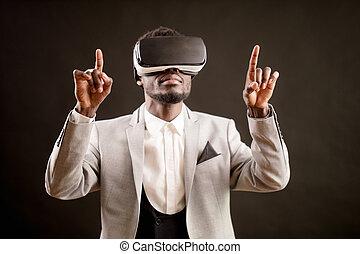 dançar, homem, em, realidade virtual, headset