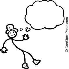 dançar, homem vara, caricatura
