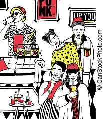 dançar, illustration., coloridos, pessoas, jovem, mão, partido, lar, desenhado, bebendo, music.