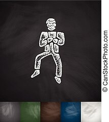 dançar, ilustração, mão, vetorial, desenhado, coreano, icon.
