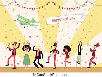 dançar, instrumentos, pessoas, homens, celebrating., faixa, músicos, marchar, tocando, mulheres