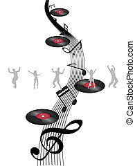 dançar, ligado, nota música