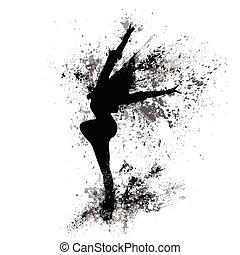 dançar, menina, pretas, respingo, pintura, silueta, isolado,...