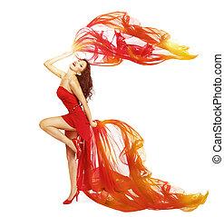 dançar mulher, em, vestido vermelho, pano, voando, waving, ligado, vento, dança, menina