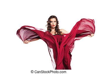 dançar, mulher, em, vestido vermelho, voando, ligado, vento
