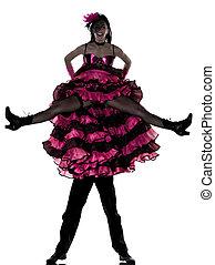 dançar mulher, par, cancan, dançarino, francês, homem