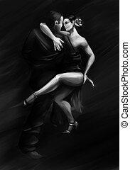 dançar mulher, pose, tango, paixão, homem