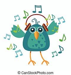 dançar, notas, fones, música, desgaste, pássaro, escutar