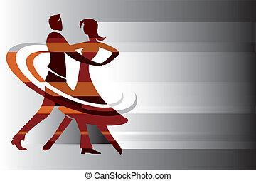 dançar, par, fundo