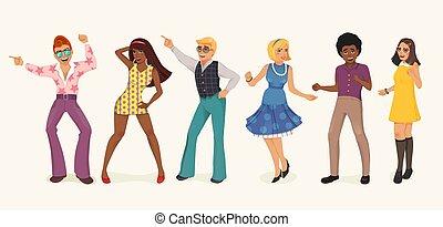 dançar, pessoas, retro, style.