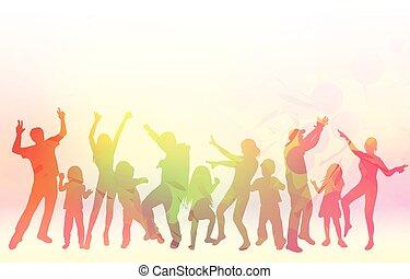 dançar, pessoas, silhuetas