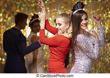 dançar, pessoas, tendo divertimento, em, a, partido