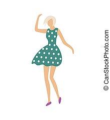dançar, polca, vestido, mulher, ponto, impressão, vetorial
