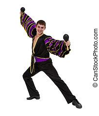 dançar samba, dançarino, isolado, um, comprimento, cheio, caucasian branco, homem