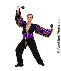 dançar samba, isolado, um, dançarino, fundo, caucasian branco, homem