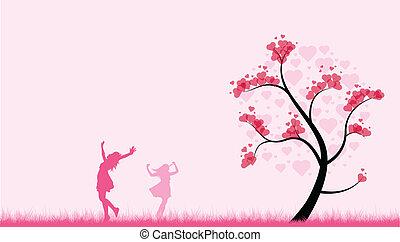 dançar, valentines, meninas