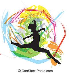 dançar., vetorial, ilustração