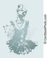 dançarino, atraente, ilustração