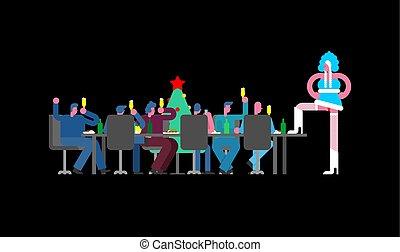 dançarino, escritório., colegas, feriado, partido, solteirona, tradicional, stripper, tabela, striptease, ano novo, rússia, work., neve, woman., incorporado, grande