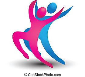 dançarino, figuras, logotipo