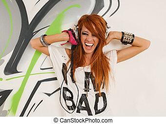 dançarino, música, hip-hop, escutar, fresco