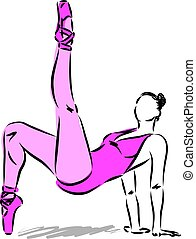 dançarino, mulher, vetorial, 3, ilustração