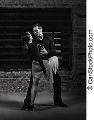 dançarinos, ação, tango