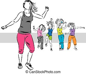 dançarinos, grupo, zumba, ilustração, d