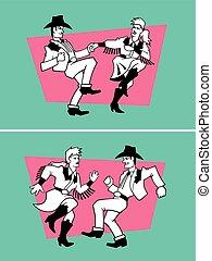 dançarinos, país, vetorial, design.