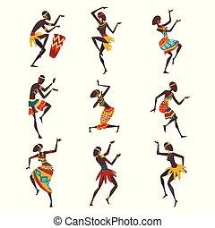 dançarinos, pessoas, dança, ritual, aboriginal, ilustração, tradicional, jogo, luminoso, vetorial, dançar, africano, étnico, roupa, ou, povo