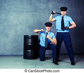 dançarinos, policiais, striptease
