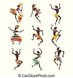 dançarinos, povo, pessoas, dança, ritual, aboriginal, ilustração, jogo, luminoso, vetorial, fêmea dançando, étnico, macho, roupa, ou, africano, ornamentado