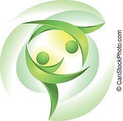 dançarinos, verde, eco-icon