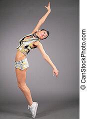 danças, mulher, jovem, beleza, shorts