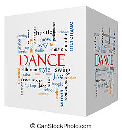 Dance 3D cube Word Cloud Concept