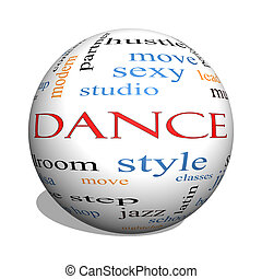 Dance 3D sphere Word Cloud Concept