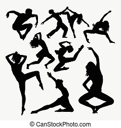 Dance activity freestyle silhouette - Dance activity. Male...