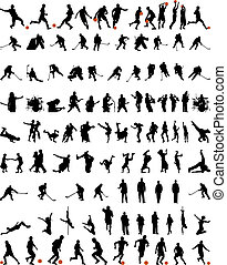 Big collection of different people vector silhouette. Dance and sport.