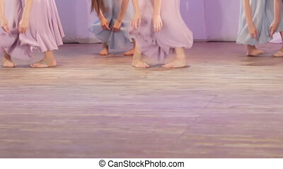 Dance barefoot on stage - On stage group dances barefoot