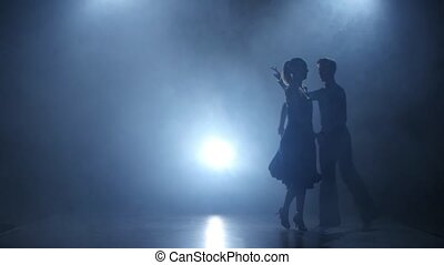 Dance cha-cha-cha performed by professional couple in smoky studio, silhouette