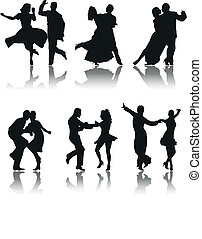 dance - set of six silhouettes of different types of dance