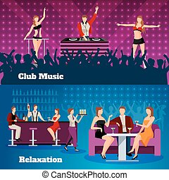 Dance Club 2 Flat Banners Set