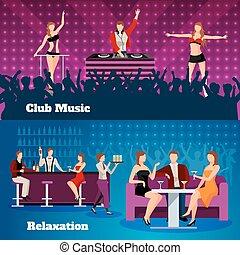 Dance Club 2 Flat Banners Set