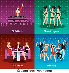 Dance Club 4 Flat Icons Square