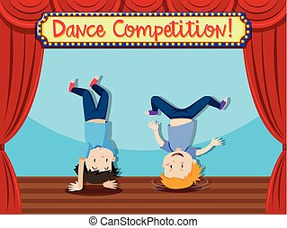 Dance comptition people breakdancing illustration