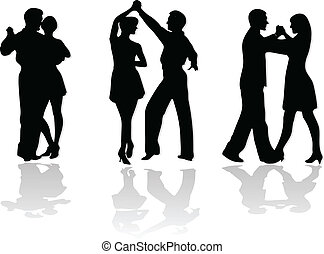 dance couples silhouettes isolated on white